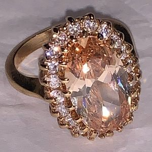 Gold Tone Ring Pale Orange Stone Clear Rhinestones